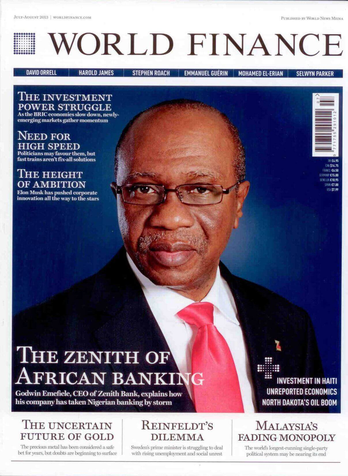 Majalah World Finance, Agustus 2013