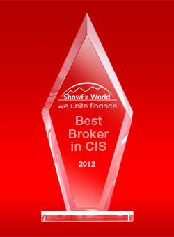 Broker Terbaik CIS tahun 2012 dari ShowFx World